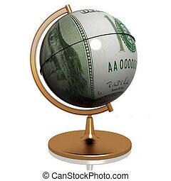 dollar as globe on a white