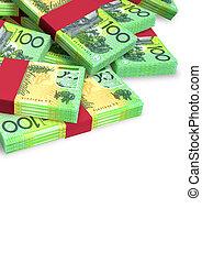 dollar, australien, dispersé, notes, tas