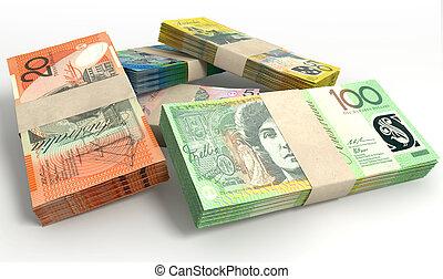 dollar, australien, paquets, notes, pile