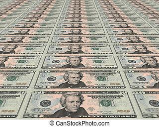 Dollar background. Twenty dollars.
