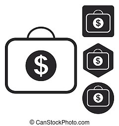 Dollar bag icon set, monochrome