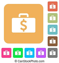 Dollar bag rounded square flat icons