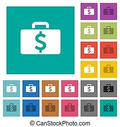 Dollar bag square flat multi colored icons