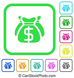 Dollar bags vivid colored flat icons