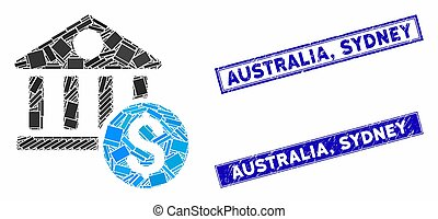 Dollar Bank Mosaic and Grunge Rectangle Australia, Sydney Stamp Seals