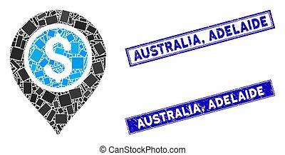 Dollar Bank Pointer Mosaic and Grunge Rectangle Australia, Adelaide Stamp Seals