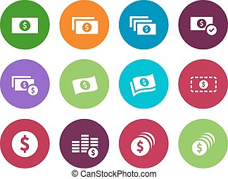 Dollar Banknote circle icons on white background. - Dollar...
