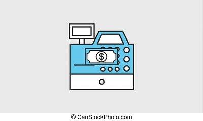 dollar banknote falling in cash register sale commerce...