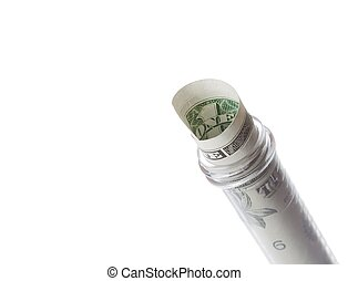 dollar banknote in graduated test tube, the cost of medical health