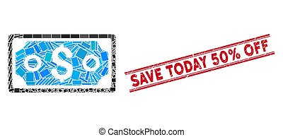Dollar Banknote Mosaic and Grunge Save Today 50% Off Stamp with Lines