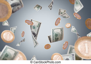 Dollar Banknotes and Coins Flying