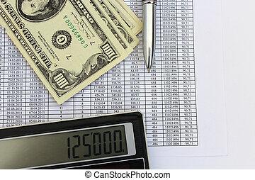 dollar banknotes, calculator and pen