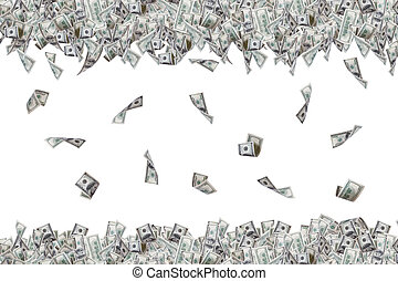 Group of one hundred dollar banknotes flying and falling down, isolated on white background.