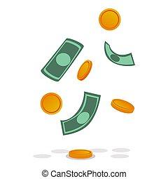 Dollar banknotes, gold coins icon, cartoon style