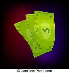Dollar banknotes icon, cartoon style