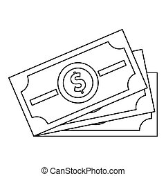 Dollar banknotes icon, outline style