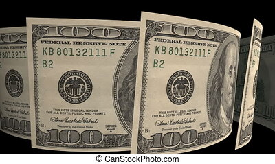dollar banknotes ,isolated on a black  background