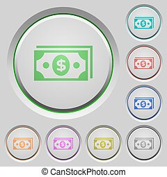 Dollar banknotes push buttons