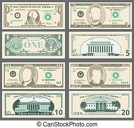 Dollar banknotes, us currency money bills vector set. Templates of banknotes, illustration of american banknotes pattern