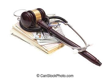 dollar, bankpapier, rechter, stethoscope, achtergrond, gavel, witte