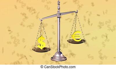 Dollar beats Euro. 3D rendering.