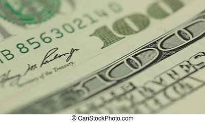 Dollar Bill 100 Macro Close-Up Pan