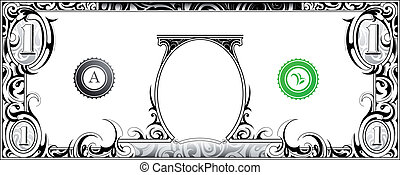 American dollar bill with artistic ornament