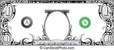 Dollar bill - American dollar bill with artistic ornament