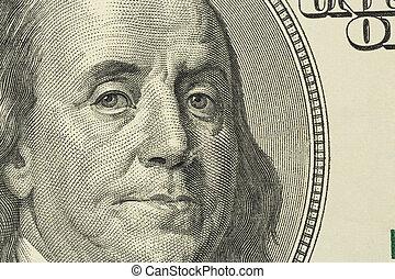 dollar bill, benjamin franklin - one hundred dollars bill...