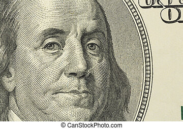 dollar bill, benjamin franklin - one hundred dollars bill...