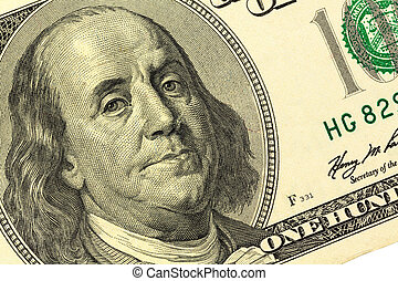dollar bill, benjamin franklin - hundred dollar bill with a...