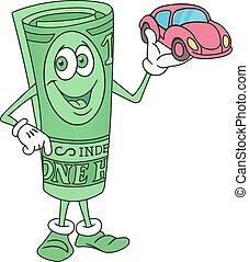 Dollar Bill Character Offering a Car