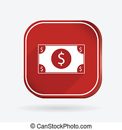 Dollar bill.  Color square icon