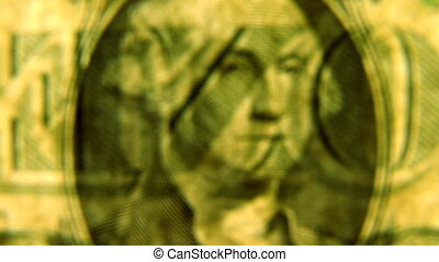 Dollar bill coming into focus