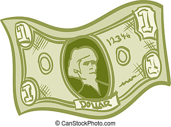 Dollar Bill - Fun Cartoon green one dollar bill.