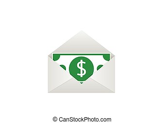 Dollar bill in envelope