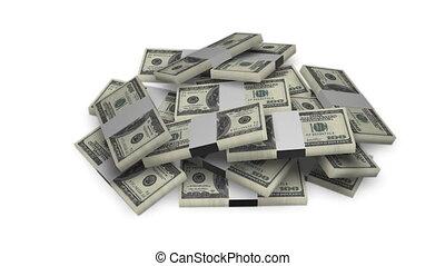 Dollar bill money bundles on white