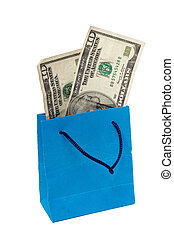Dollar bill on a Shopping bag