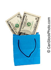 dollar bill on a Shopping bag. With clipping path
