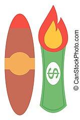 Dollar bill on fire and cigar vector flat design...
