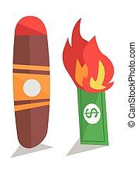 Dollar bill on fire and cigar vector illustration. - Dollar...