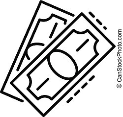 Dollar bill paper icon, outline style