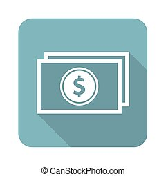 Dollar bill square icon