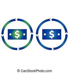Dollar bill turn icon