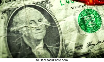 Dollar bill USA money burning in flames