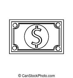 dollar bill , Vector illustration over white background