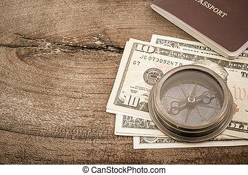 dollar, billet banque., compas