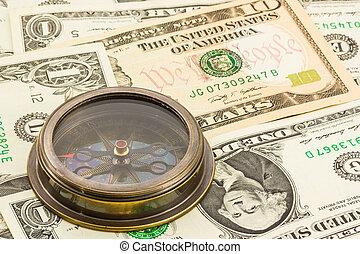 dollar, billet banque, compas