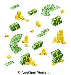dollar, billets banque, ventilateur, pièces, piles, tas