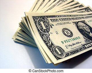 a stack of one dollar bills - US currency